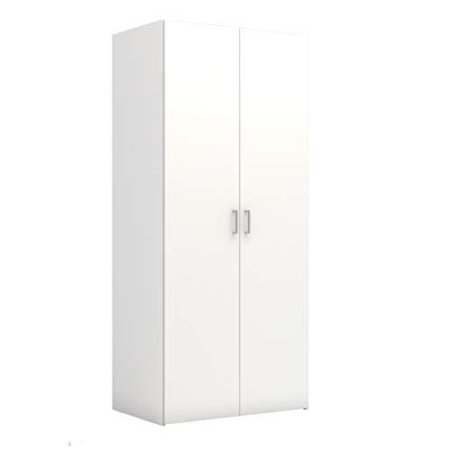 Dmora Armadio Guardaroba a Due Ante battenti con Cinque Ripiani Interni, Colore Bianco, cm 77 x 175 x 41