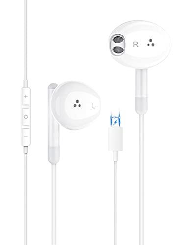 Auriculares Cascos para iPhone,In Ear Resistentes al Sudor,Cascos con Cancelación de Ruido,Auriculares con Micrófono y Control de Volumen Compatible Cascos de iPhone 7/8 /Plus/11/12/Pro/XR/X/XS/XS