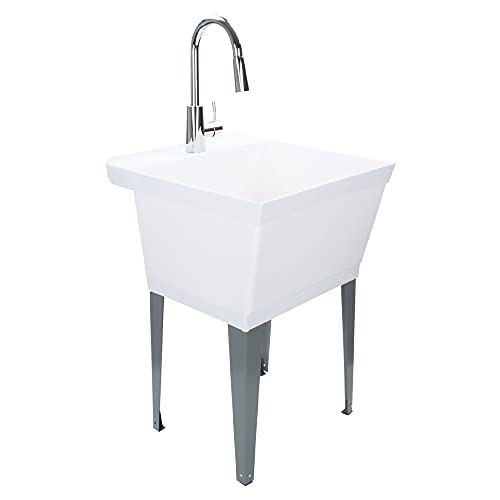 JS Jackson Supplies White Utility Sink Laundry Tub with High Arc Chrome Kitchen Faucet, Pull Down Sprayer Spout, Heavy Duty Slop Sinks for Basement, Garage, or Shop, Free Standing Wash Station