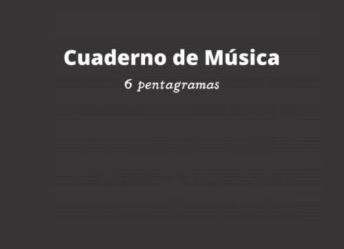Cuaderno de Música 6 pentagramas: Libreta para notación musical, papel pautado, 6 pentagramas por página, A5+ apaisado, 60 páginas