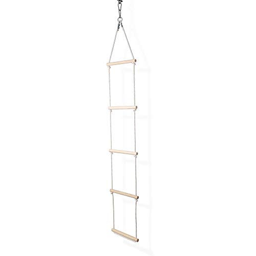 Strickleiter Haltbare Kletterleiter für Kinder aus Holz und Baumwollschnur | Strickleiter Schaukel Indoor und Outdoor | Nachhaltig Hänge Leiter skandinavisches Design | 100% ECO | Made in EU