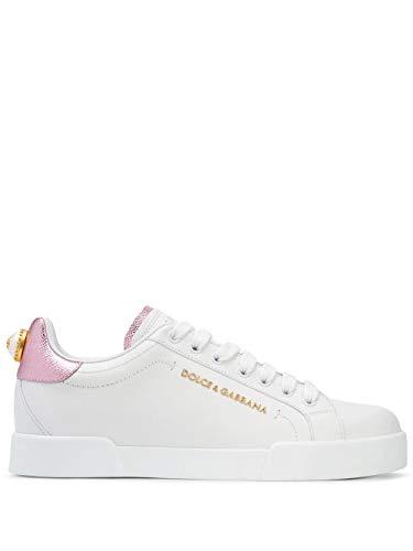 Moda De Lujo | Dolce E Gabbana Mujer CK1602AN29887587 Blanco Cuero Zapatillas | Temporada Permanente