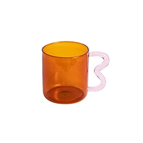 porzellantasse Design Bunte Ohrglas-Tasse Handgemachte einfache Welle Kaffeetasse für Warmwasser-Tumbler-Geschenk-Drink-300ml porzellantasse bone china ( Capacity : 301 400ml , Color : Brown pink 03 )