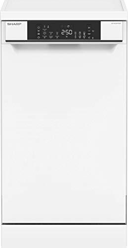 Sharp QW-NS22F47EW-DE Freistehender Geschirrspüler / 45 cm / E / 10 Maßgedecke mit Besteckschublade / 7 Programme mit 30 min. Kurzprogramm / Weiß