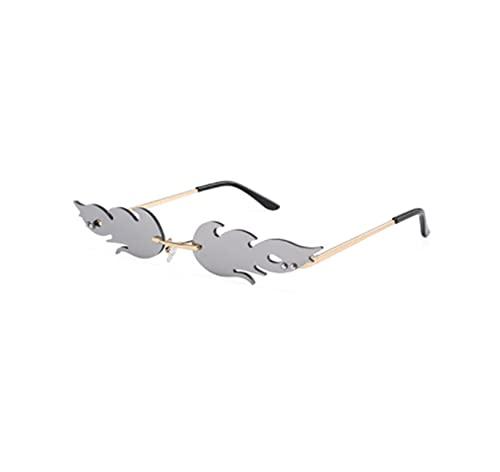 Gafas de sol de ojo de gato de lujo para mujer, estilo vintage, sin montura de llama de fuego, gafas de sol de tendencia espejo lente estrecha UV400 (color plateado)