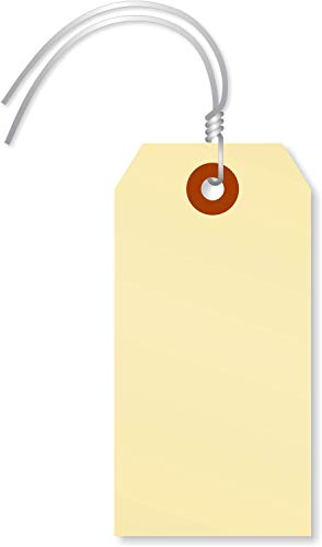 SmartSign Blank Manila Shipping Tags with Wire, Size #3 | 13pt Cardstock Tags, 3 3/4