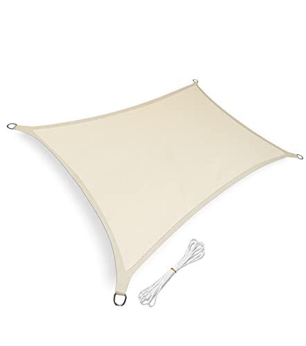sunnypillow Sonnensegel Rechteckig 3 x 5 m inkl. Befestigungsseilen 100% HDPE | Windschutz | UV Schutz | atmungsaktiv | Sonnenschutz für Garten Terrasse und Balkon | Beige