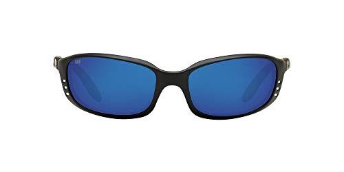 Costa Del Mar Men s Brine Polarized Oval Sunglasses, Matte Black Grey Blue Mirrored Polarized-580G, 59 mm