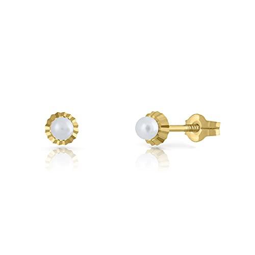 Pendientes Oro de Ley Certificado. Niña/Mujer. Perla Natural Cultivada. Cierre de presión. Medida 4.5 mm. (1-4542)