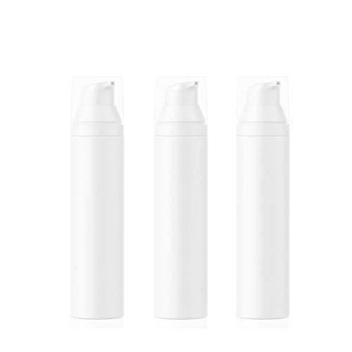 bubussv (3 Stück) 75ml Leer weiß Mini tragbar nachfüllbar Kunststoff Airless Vakuum Pumpe Flasche Reisen Behälter Creme Lotion Foundation Dispenser Vial Container Topf Gläser Behälter