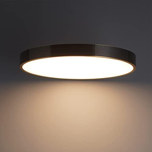 Lámpara LED de techo para dormitorio, moderna, redonda, regulable, lámpara de techo negra, iluminación de techo de latón acrílico, 26 W, para salón, oficina, pasillo, balcón, hotel, 40 x 4 cm