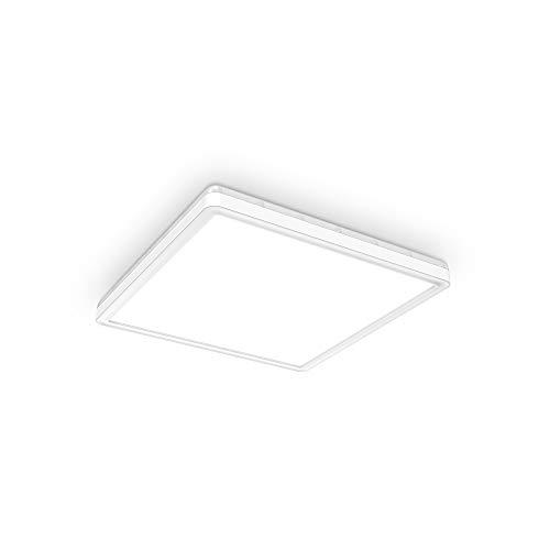 B.K.Licht Plafoniera LED dimmerabile su 3 livelli, 18W 2400Lm, Luce bianca neutra 4000K, Ultrapiatta, Illuminazione indiretta, Pannello LED, Funzione memoria, Lampada da soffitto quadrata lato 293mm