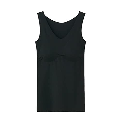 [グンゼ] タンクトップ キレイラボ 完全無縫製 ひんやりと軽い パッド付 KL7258 レディース ブラック 日本 M (日本サイズM相当)