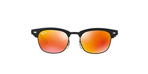 Ray-Ban Unisex Clubmaster Junior Sonnenbrille, Schwarz (Gestell: Schwarz, Gläser: rot verspiegelt 100S6Q), Small (Herstellergröße: 45)