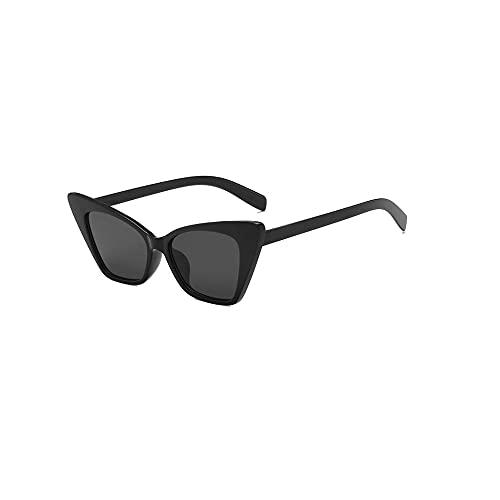 Gafas de sol de ojo de gato cuadradas vintage para mujer de moda Cateye gafas de sol para mujer (marco negro + lente negra) gafas de sol vintage de moda de protección UV