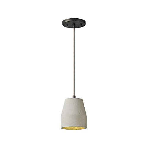 MOTINI Concrete Dome Pendant Light, Modern Industrial Farmhouse Mini Ceiling Hanging Light Fixture with Bell Cement Shade for Kitchen Island Dining Room Bedroom, Black and Gray