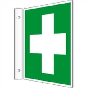 Fahnenschild Erste Hilfe gemäß ASR A1.3/ DIN ISO 7010 Kunststoff 20 x 20cm (Rettungsschild, Hinweisschild, Unfall) praxisbewährt, wetterfest