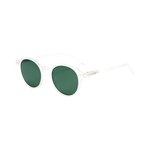 ZENOTTIC Gafas de sol Polarizadas Redondo Retrospectivo Clásico Retrospectivo Lentes de sol Marco UV400 Para hombres y mujeres (CRISTAL MATE + VERDE)