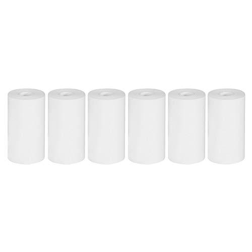 Puwind 6 Rollen Thermo-Druckerpapier, 57 x 30 mm, Mini-Drucker-Aufkleber, Etiketten, Fotodruck, kompatibel mit A6 PeriPage Drucker, Weiß