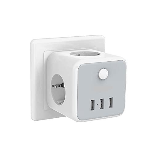 Tira de Enchufe de la UE Socket EU Power Strip con 3 Salidas 3 Interruptor de Encendido/Apagado del Puerto USB, 100-250V Outletas de Enchufe de Corriente Adaptador de Cargador de Pared