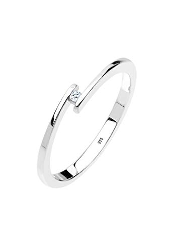 DIAMORE Ring Damen Verlobungsring mit Diamant (0.02 ct.) in 925 Sterling Silber