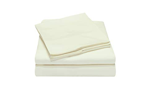 Callista 100% Cotton Sateen Bedding Set 300 Thread Count -Twin Size, Wrinkle-Free, Fade, Stain Resistant, Hypoallergenic -1 Flat Sheet 1 Fitted Sheet and 1 Pillowcase -3 Piece -Ivory