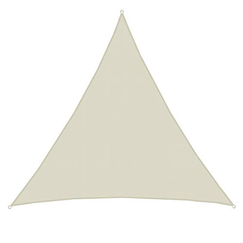 AMANKA UPF50+ UV Sonnensegel 7x7x7 Polyester Dreieck Wasserabweisend Wetterfest Garten Balkon Beige