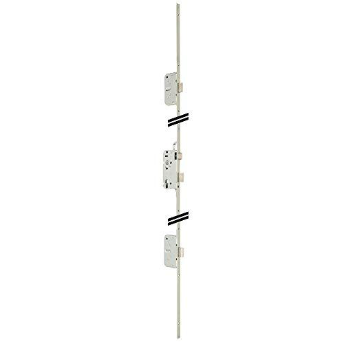 Metalux Trilogia II - Serrure 3 points à larder pêne demi tour Réversible Axe 50 Entraxe 70 Cylindre à profil européen Tétière hauteur 2040mm