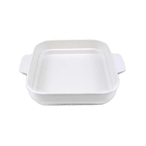 HCHLQLZ Blanc Petits Plat Four carré en céramique pour Four-Plat à gratin/lasagn-20x 20 cm(1300ML)