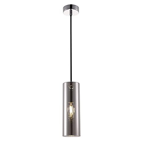 Lámpara de techo de cristal soplado, color ahumado, con revestimiento galvanizado de color cromo 1 x E14 (40 W) 230 V