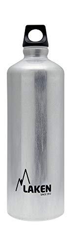 Laken Futura Alu Trinkflasche Schmale Öffnung Schraubdeckel mit Schlaufe 1L, Silber