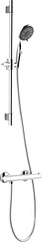 VALAZ Grifo de ducha termostatico cromado redondo con barra independiente