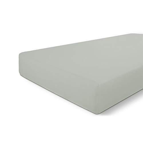 Walra Spannbettlaken 180x220, 100% Baumwolle Spannbetttuch, Perfekte Matratzenpassform, Weiches Gefühl, Knitter- & Bügelfrei - Graugrün