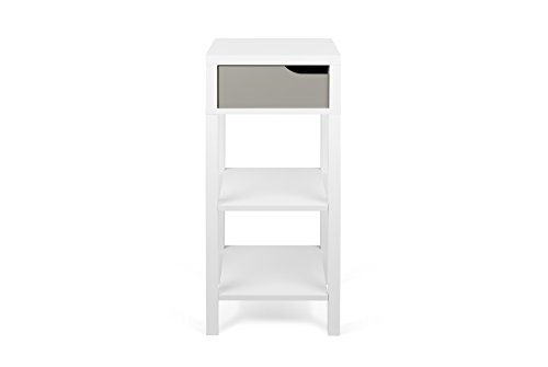 TemaHome Basics Haute Table de Chevet Table de Nuit, 34 x 34 x 80 cm, Blanc/Gris
