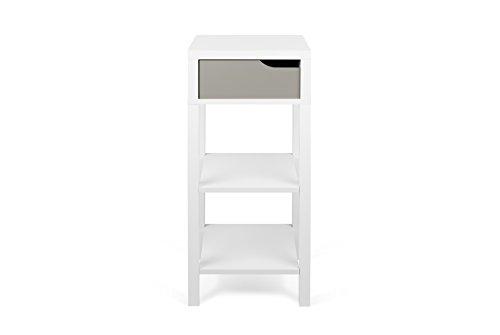 TemaHome Basics Haute Table de Chevet Table de Nuit, 34 x 34 x 80 cm, Blanc/Gris