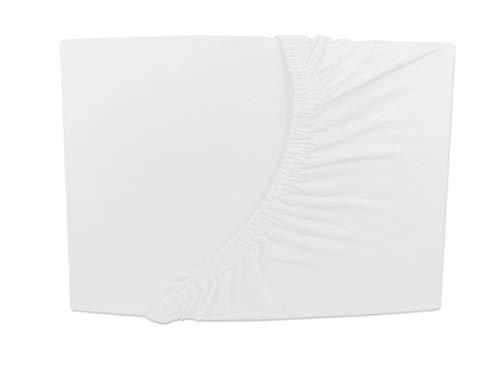Topper colchones sábana bajera cama Jersey Lujo Anillo 180x 200–200x 200cm, blanco, 180 x 200 cm - H3