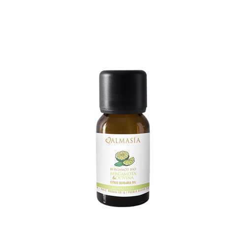 Aceite Esencial de Bergamota con Olivina - 15 ml - Trata la Dermatitis y Pieles Grasas - Equilibra las Emociones - Limpia el Aura - Con Gema Olivina - 100% Natural - No Testado en Animales - Almasía