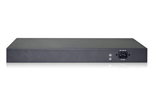 DIGITUS Fast Ethernet PoE+ Switch - 19 Zoll - 24 Ports + 2x Uplink SFP/RJ45 - IEEE802.3af/at - 370W Power-Budget - Schwarz