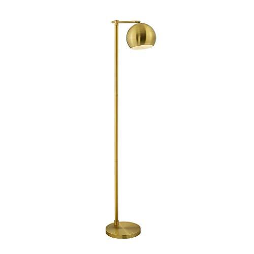 Acogida - Lámpara de pie de estilo americano simple, moderna, pantalla de ángulo ajustable, E27, fuente de luz, hierro para salón, sofá, dormitorio, iluminación, marrón, Foot Switch