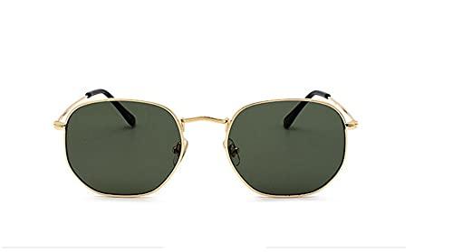 Óculos De Sol Vintage Feminino Masculino Hexagonal Metal Desenho: Hexagonal/Dourado- Verde; Tamanho: Médio