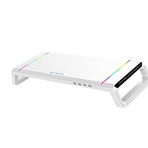 Nobranded Universal Monitor de pantalla de ordenador soporte elevador RGB 4 USB 2,0 para la oficina en casa - Blanco