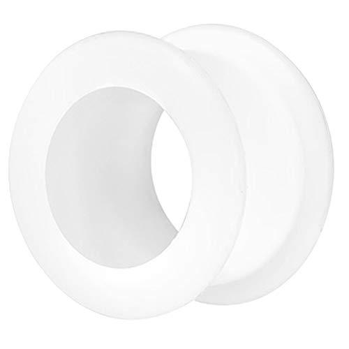 Piercingfaktor Farbiger Flesh Tunnel Silikon Extra Big Double Flared Weich Flexibel XXL Rund Creole Ohr Plug Ear Piercing Bunt 10mm Weiß