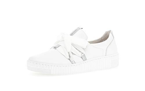 Gabor Damen Sneaker, Frauen Low-Top Sneaker,Best Fitting,Übergrößen,Optifit- Wechselfußbett, strassenschuh schnürer,Weiss/Silber,39 EU / 6 UK