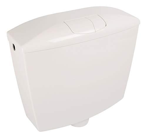 Calmwaters® Spülkasten mit 2-Mengen-Spülung, 3,5 & 6-9 Liter Spülmenge, Aufputzspülkasten WC schmal, Spülkasten Weiß für Aufputz-Montage, mit Zwei Mengen Technik, Modell Wellness, 29HB2723