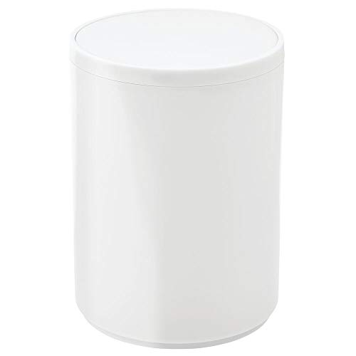 mDesign Round Swing Trash Can Wastebasket, Garbage Container Bin - for Bathroom, Powder Room, Bedroom, Kitchen, Craft Room, Office - Removable Liner Bucket - White