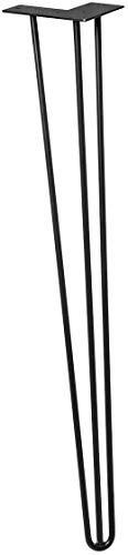 WAGNER Möbelben/bordsben/möbelfot – HAIRPIN LEG – retro stil – pulverlackerad stål, 12 x 12 x 71 cm, benkonisk/sned lutning, med integrerad skruvplatta – 12827101