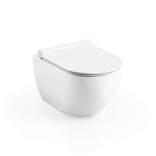 Design Hänge WC RimOff | Spülrandlose Toilette | Wand-WC-Set | inkl. WC Sitz Slim mit SoftClose | WC Uni Chrome RimOff inkl. WC Sitz | RAVAK