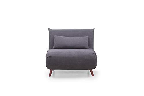 Home Heavenly - Sofá Cama Pegaso Plegable, sofá butaca Individual con Pata de Madera y tapizado en Tela Color Gris
