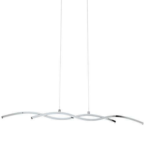 Eglo - Lampada a sospensione, Alluminio, integrato, cromato, bianco, 87 x 8 x 120 cm, led