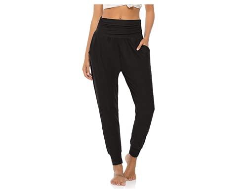 BeautyWill Pantalones harén para mujer, cintura alta, para yoga, entrenamiento, informal, holgados, suaves, modal, pantalones de pilates negro (schwarz 1) XL